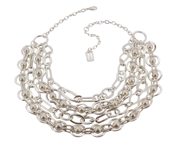 Chunky Link Necklace with Pearls - Silver