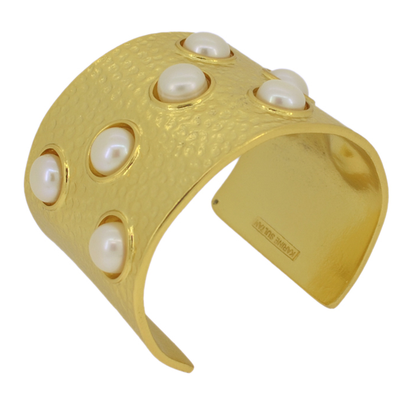 Textured Cuff with Embedded Pearls