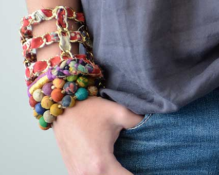 Kantha Fabric Bauble Stretch Bracelet