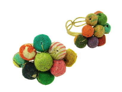 Kantha Beaded Ball Ring