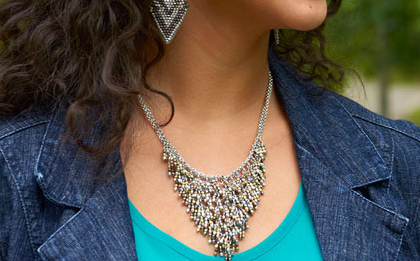 Metallic Fringe Bib Necklace