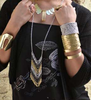 Chevron Mixed Metal Long Necklace