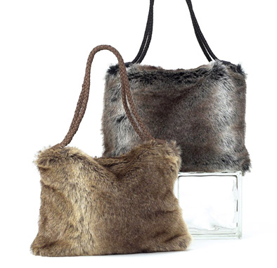 Bags - Faux Fur Shopper Bag in Taupe - Girl Intuitive - Island Imports -