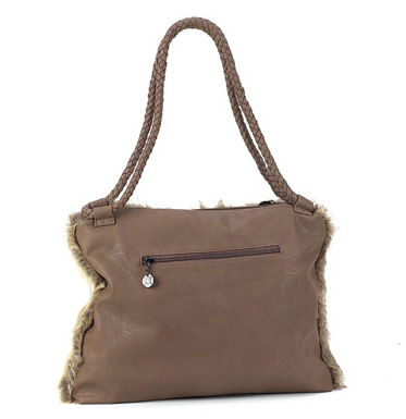 Bags - Faux Fur Shopper Bag in Taupe - Girl Intuitive - Island Imports - Taupe