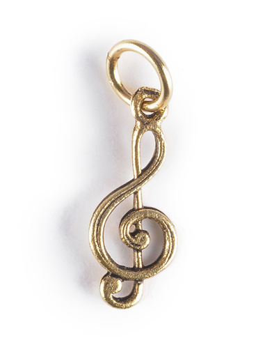 Treble Clef Music Charm gold