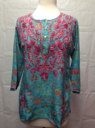 Silk Embroidered Tunic  Pink and Blue