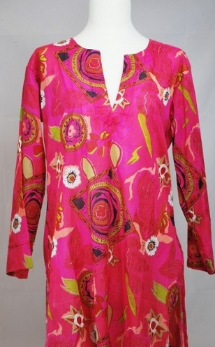 Cotton Tunic Top Hot Pink