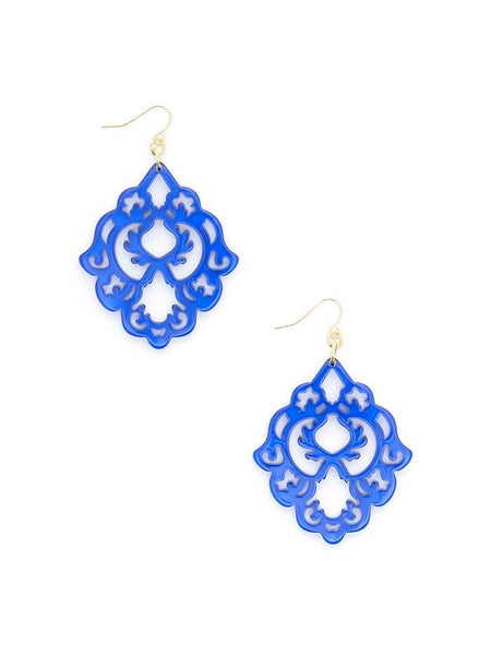 Scroll Resin Earrings cobalt