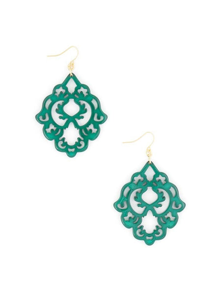 Scroll Resin Earrings green