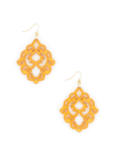 Scroll Resin Earrings honey