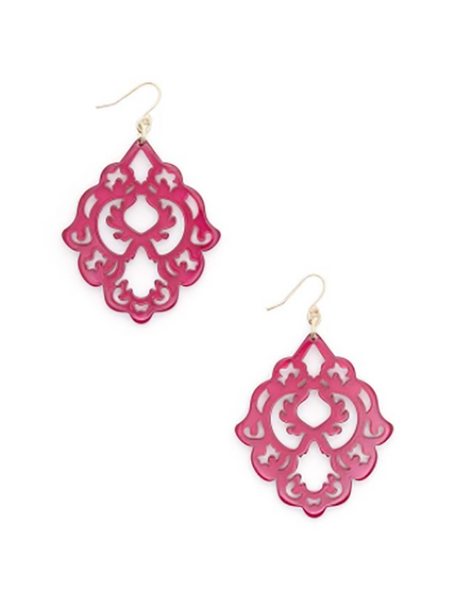 Scroll Resin Earrings hot pink