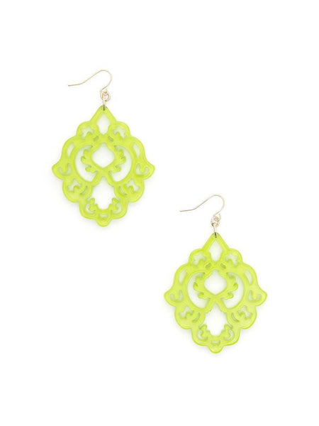 Scroll Resin Earrings lime