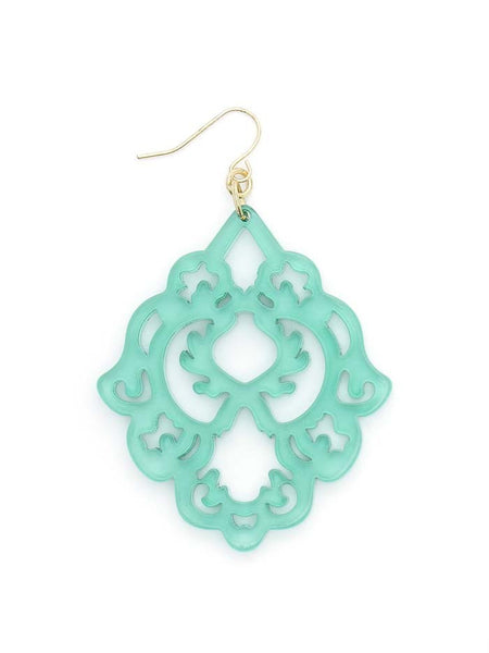 Scroll Resin Earrings mint