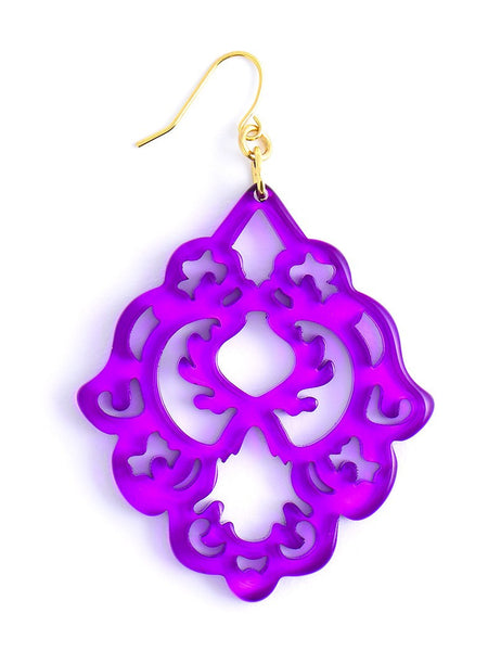 Scroll Resin Earrings purple