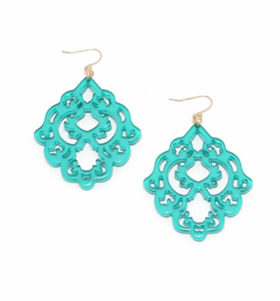 Scroll Resin Earrings teal