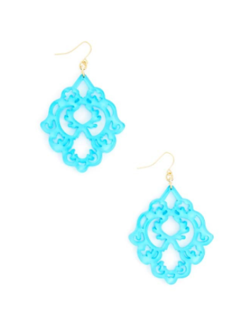 Scroll Resin Earrings BLUE