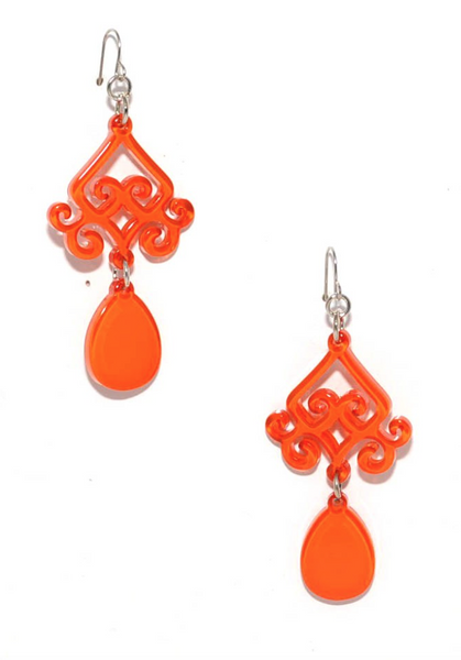 Scroll and Drop Earrings orange