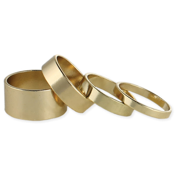 Set of 4 Thin & Wide Gold Band Rings