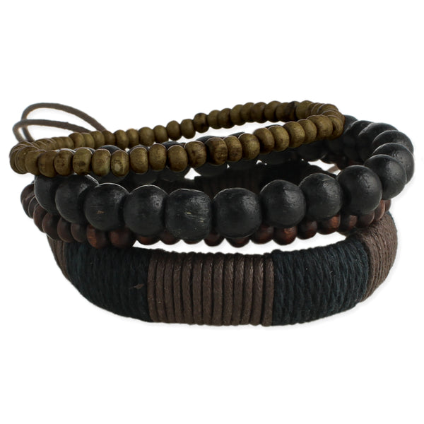 Set of 4 Wood & Cord Wrap Men's Bracelets