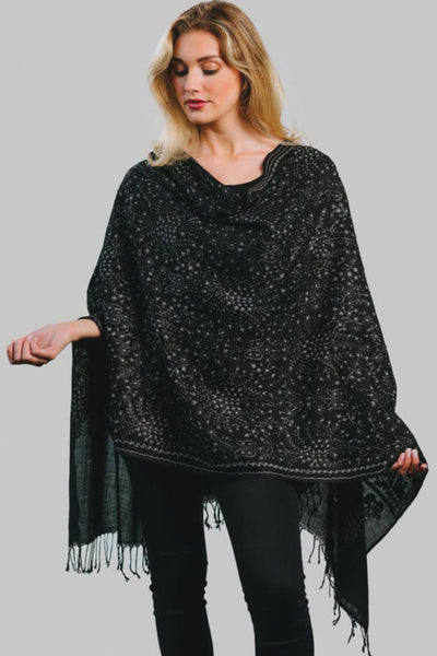 Sevya Tanisi Embroidered Wool Shawl