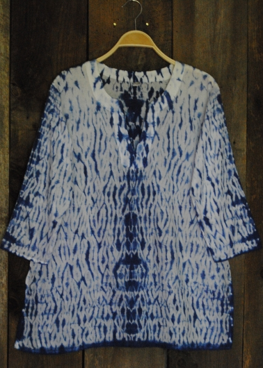 womens shibori tunic blue