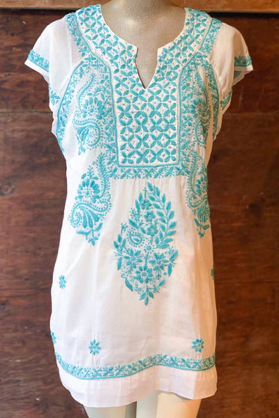 Short Sleeve Embroidered Tunic Top