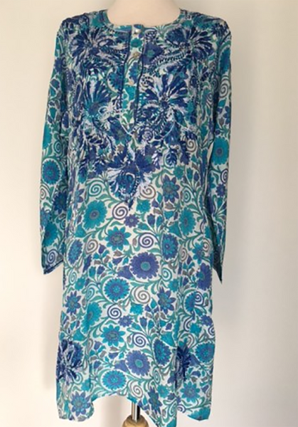 Silk Long Tunic in Cobalt Embroidery