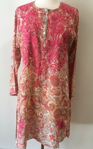 Silk Long Tunic in Coral