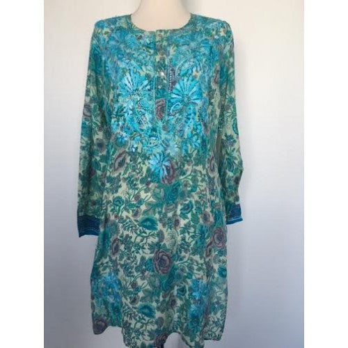 Silk Long Tunic in Turquoise Embroidery