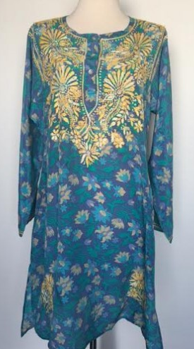 Silk Long Tunic in Turquoise
