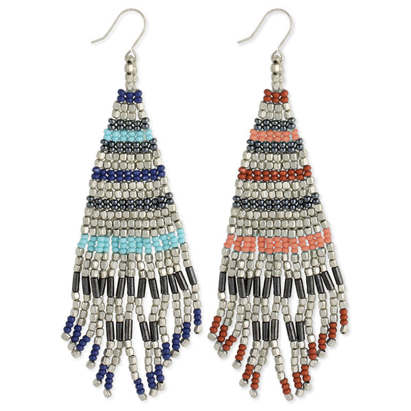 Silver Beaded Fringe Earrings