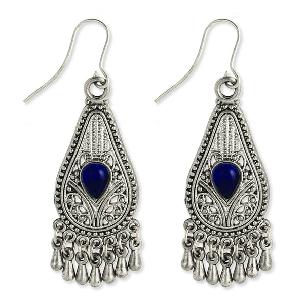 Silver Filigree Teardrop Earring blue