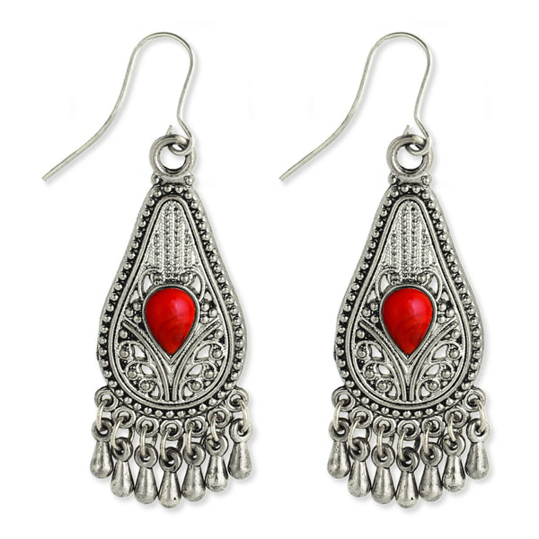 Silver Filigree Teardrop Earring coral