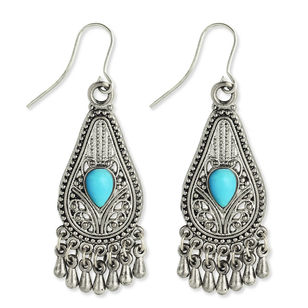 Silver Filigree Teardrop Earring turq