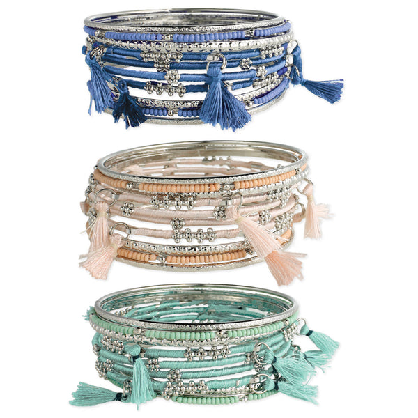 Silver Thread Wrapped Bangles