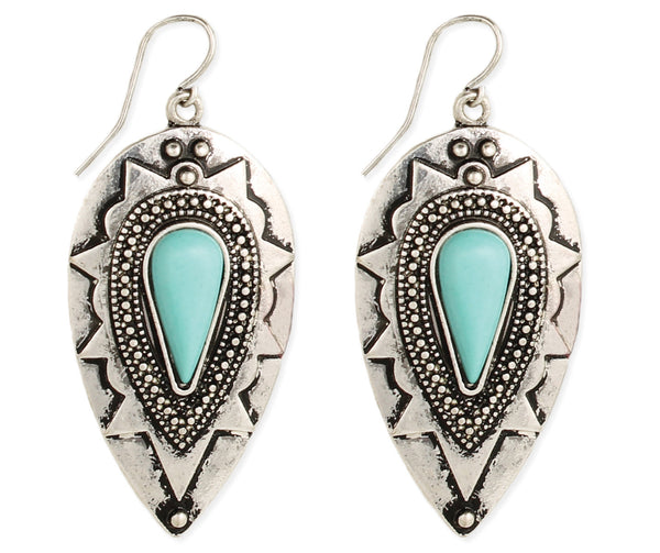 Silver & Turquoise Bead Teardrop Earrings