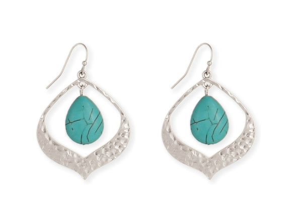 Silver Turquoise Drop Earrings