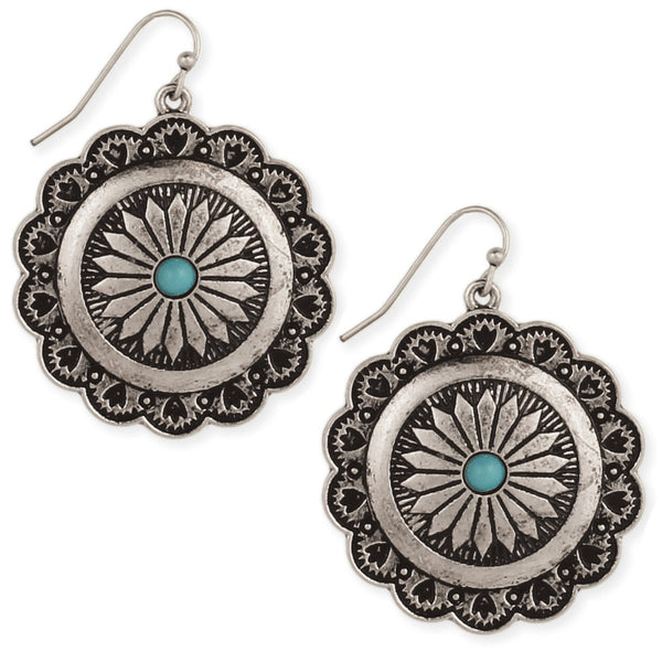 Silver and Turquoise American Earrings