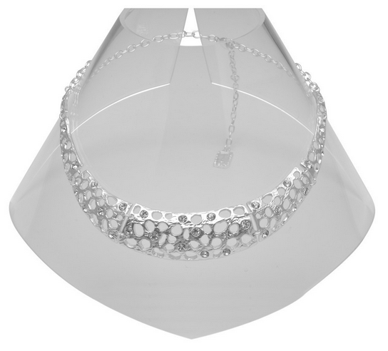 Silver Cut-Out Collar Necklace