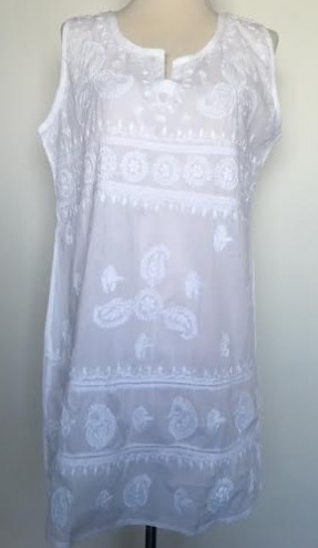 Sleeveless Embroidered White Tunic