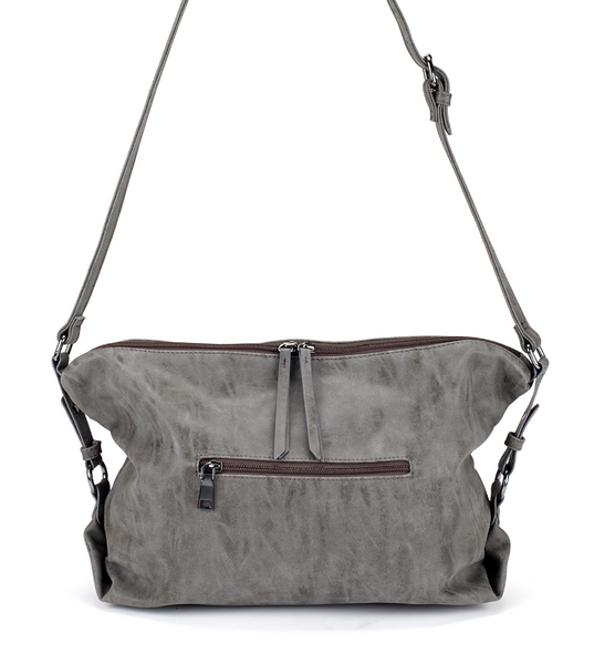 Slouchy East West Bag in Gray zipper