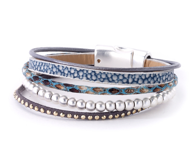 Snake Leather and Beads Bracelet blue