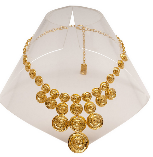 Spiral Waterfall Bib Necklace in Gold