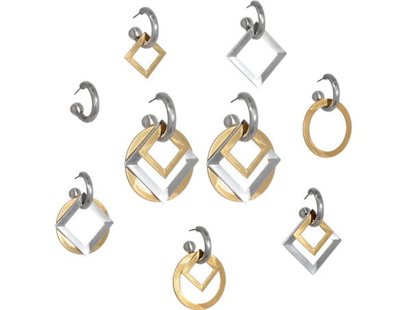 Squares Convertible Hoop Earrings set