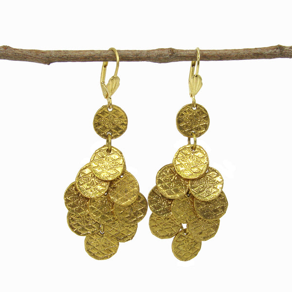 Stamped Disc Chandelier Earrings in Gold