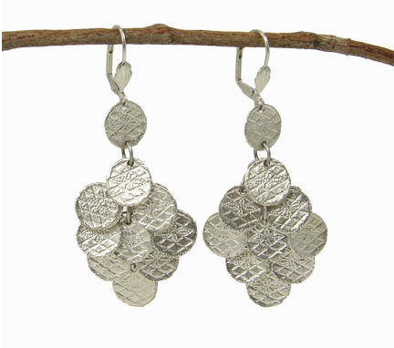 Stamped Disc Chandelier Earrings in Silver