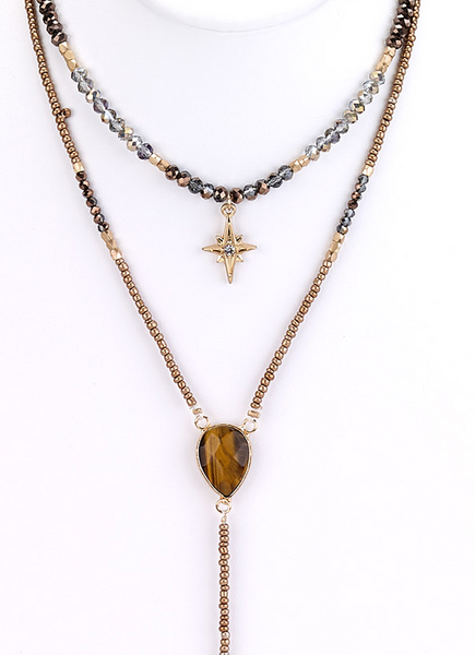 Star Charm Beaded Y-Necklace
