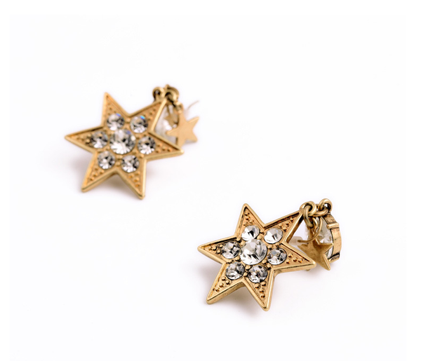 Star Charm Drop Earrings close