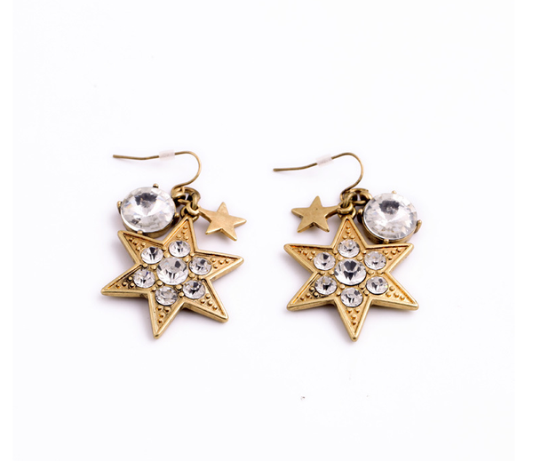 Star Charm Drop Earrings flat