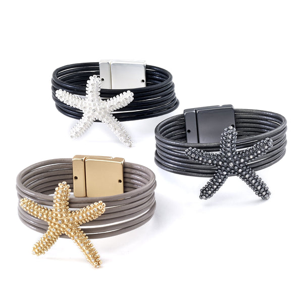 Starfish Leather Cuff Bracelet